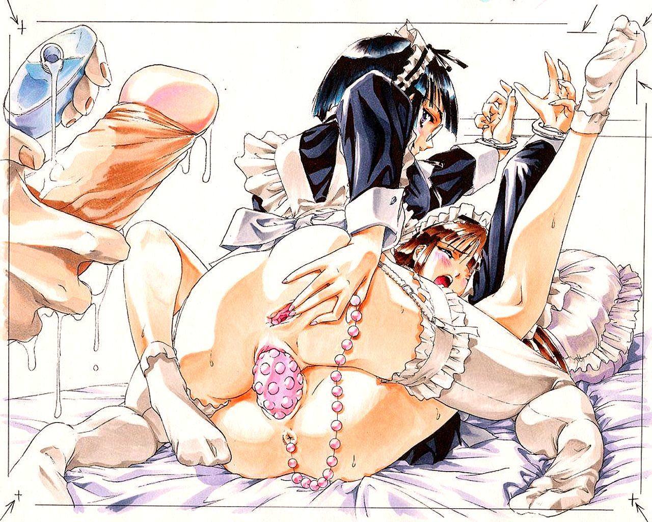 Хентай, аниме секс, hentai, развратные служанки лезбиянки трахаются